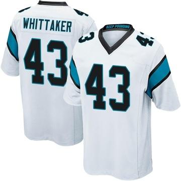 Youth Nike Carolina Panthers Fozzy Whittaker White Jersey - Game