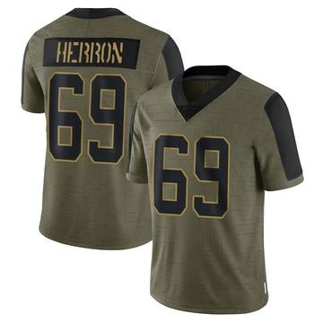 Youth Nike Carolina Panthers Frank Herron Olive 2021 Salute To Service Jersey - Limited