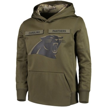 Youth Nike Carolina Panthers Green 2018 Salute to Service Pullover Performance Hoodie -
