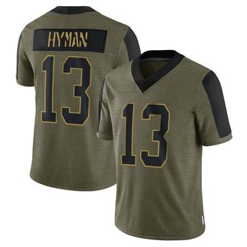 Youth Nike Carolina Panthers Ishmael Hyman Olive 2021 Salute To Service Jersey - Limited