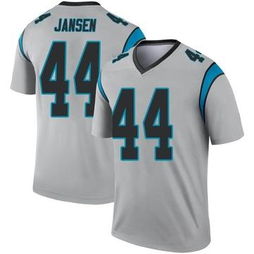 Youth Nike Carolina Panthers J.J. Jansen Inverted Silver Jersey - Legend