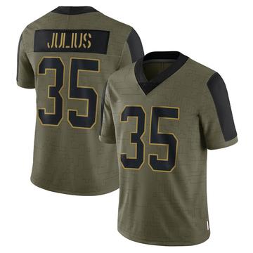 Youth Nike Carolina Panthers Jalen Julius Olive 2021 Salute To Service Jersey - Limited