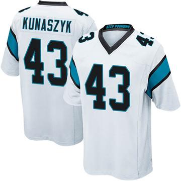 Youth Nike Carolina Panthers Jordan Kunaszyk White Jersey - Game