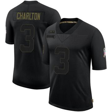 Youth Nike Carolina Panthers Joseph Charlton Black 2020 Salute To Service Jersey - Limited