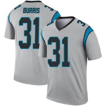 Youth Nike Carolina Panthers Juston Burris Inverted Silver Jersey - Legend