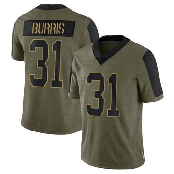 Youth Nike Carolina Panthers Juston Burris Olive 2021 Salute To Service Jersey - Limited