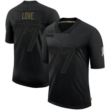 Youth Nike Carolina Panthers Kyle Love Black 2020 Salute To Service Jersey - Limited