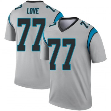 Youth Nike Carolina Panthers Kyle Love Inverted Silver Jersey - Legend