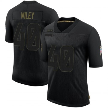 Youth Nike Carolina Panthers LaDarius Wiley Black 2020 Salute To Service Jersey - Limited