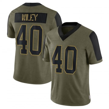 Youth Nike Carolina Panthers LaDarius Wiley Olive 2021 Salute To Service Jersey - Limited