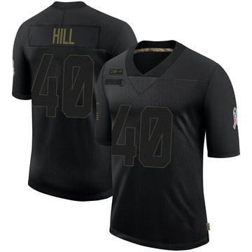 Youth Nike Carolina Panthers Lano Hill Black 2020 Salute To Service Jersey - Limited