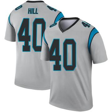 Youth Nike Carolina Panthers Lano Hill Inverted Silver Jersey - Legend