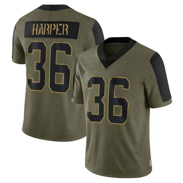 Youth Nike Carolina Panthers Madre Harper Olive 2021 Salute To Service Jersey - Limited