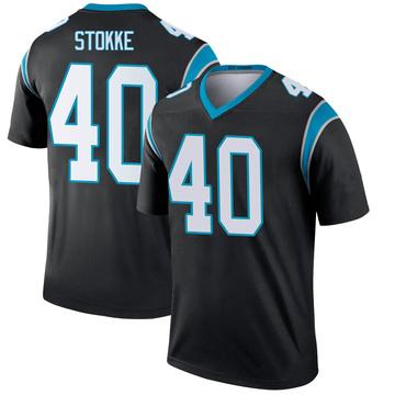 Youth Nike Carolina Panthers Mason Stokke Black Jersey - Legend