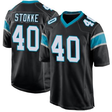 Youth Nike Carolina Panthers Mason Stokke Black Team Color Jersey - Game