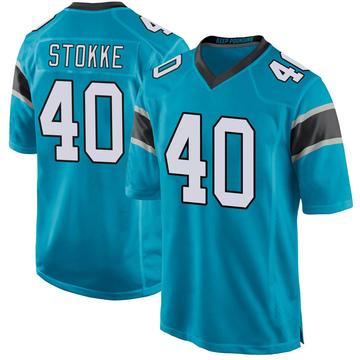 Youth Nike Carolina Panthers Mason Stokke Blue Alternate Jersey - Game