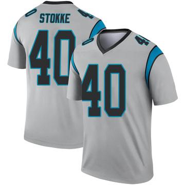 Youth Nike Carolina Panthers Mason Stokke Inverted Silver Jersey - Legend