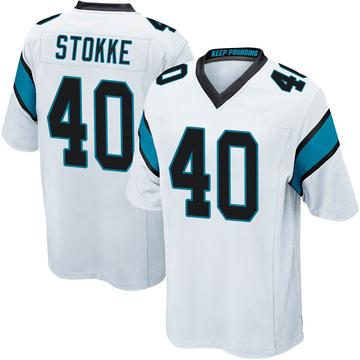 Youth Nike Carolina Panthers Mason Stokke White Jersey - Game