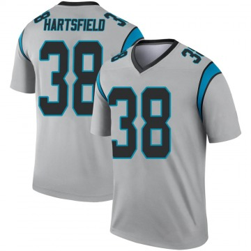Youth Nike Carolina Panthers Myles Hartsfield Inverted Silver Jersey - Legend