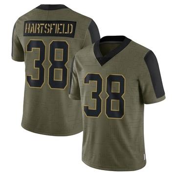 Youth Nike Carolina Panthers Myles Hartsfield Olive 2021 Salute To Service Jersey - Limited