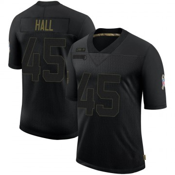 Youth Nike Carolina Panthers Nate Hall Black 2020 Salute To Service Jersey - Limited
