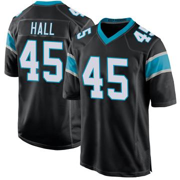 Youth Nike Carolina Panthers Nate Hall Black Team Color Jersey - Game