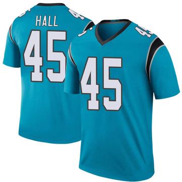 Youth Nike Carolina Panthers Nate Hall Blue Color Rush Jersey - Legend