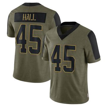 Youth Nike Carolina Panthers Nate Hall Olive 2021 Salute To Service Jersey - Limited