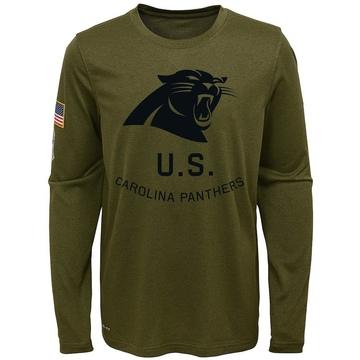 Youth Nike Carolina Panthers Olive 2018 Salute to Service Performance Long Sleeve T-Shirt - Legend