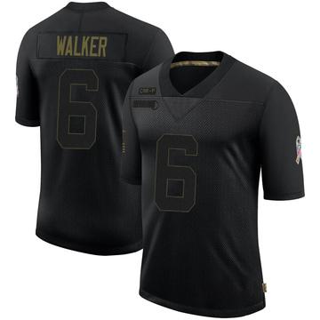 Youth Nike Carolina Panthers P.J. Walker Black 2020 Salute To Service Jersey - Limited