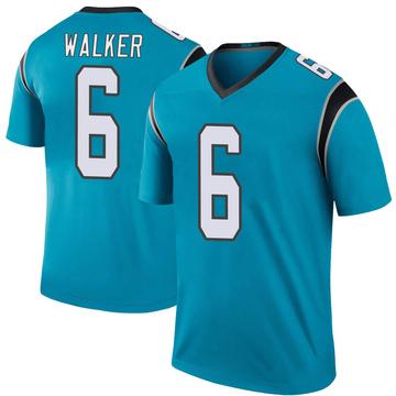 Youth Nike Carolina Panthers P.J. Walker Blue Color Rush Jersey - Legend