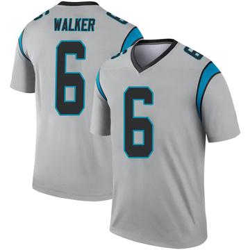 Youth Nike Carolina Panthers P.J. Walker Inverted Silver Jersey - Legend