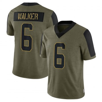 Youth Nike Carolina Panthers P.J. Walker Olive 2021 Salute To Service Jersey - Limited