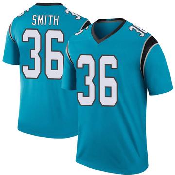 Youth Nike Carolina Panthers Rodney Smith Blue Color Rush Jersey - Legend