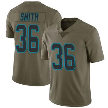 Youth Nike Carolina Panthers Rodney Smith Green 2017 Salute to Service Jersey - Limited