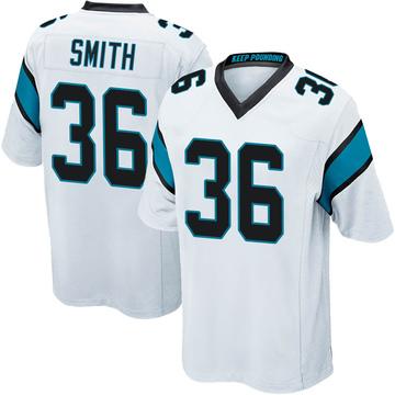 Youth Nike Carolina Panthers Rodney Smith White Jersey - Game