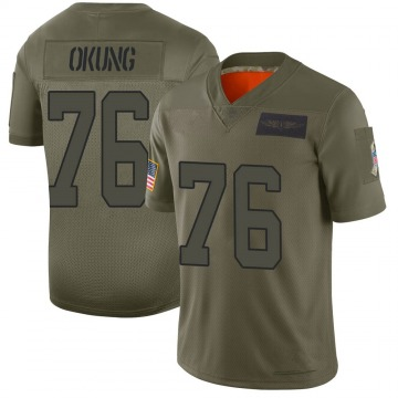 Youth Nike Carolina Panthers Russell Okung Camo 2019 Salute to Service Jersey - Limited