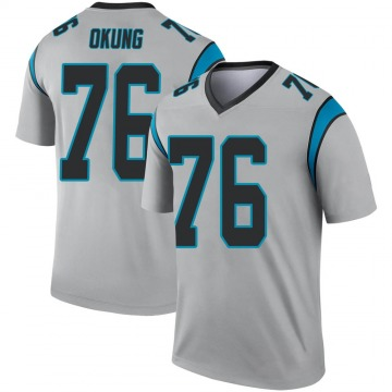 Youth Nike Carolina Panthers Russell Okung Inverted Silver Jersey - Legend