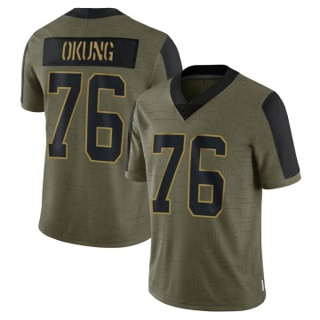 Youth Nike Carolina Panthers Russell Okung Olive 2021 Salute To Service Jersey - Limited