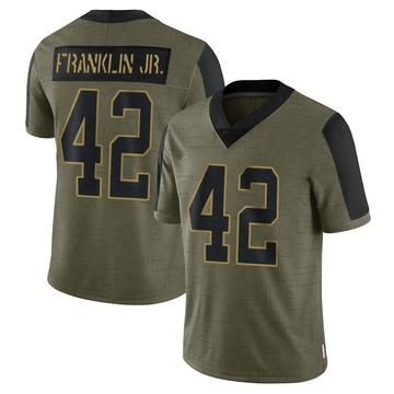 Youth Nike Carolina Panthers Sam Franklin Olive 2021 Salute To Service Jersey - Limited