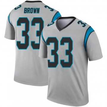 Youth Nike Carolina Panthers Spencer Brown Inverted Silver Jersey - Legend