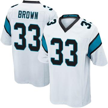 Youth Nike Carolina Panthers Spencer Brown White Jersey - Game