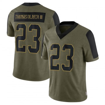 Youth Nike Carolina Panthers Stantley Thomas-Oliver III Olive 2021 Salute To Service Jersey - Limited