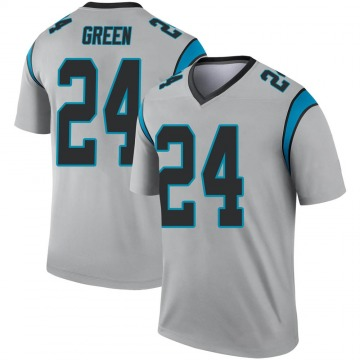 Youth Nike Carolina Panthers T.J. Green Green Inverted Silver Jersey - Legend