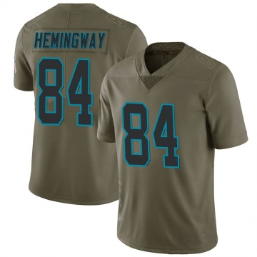 Youth Nike Carolina Panthers Temarrick Hemingway Green 2017 Salute to Service Jersey - Limited