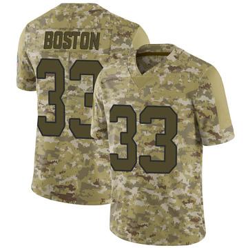 Youth Nike Carolina Panthers Tre Boston Camo 2018 Salute to Service Jersey - Limited
