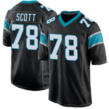 Youth Nike Carolina Panthers Trent Scott Black Team Color Jersey - Game