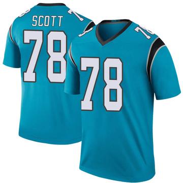 Youth Nike Carolina Panthers Trent Scott Blue Color Rush Jersey - Legend