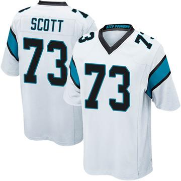 Youth Nike Carolina Panthers Trent Scott White Jersey - Game
