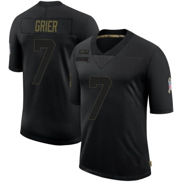 Youth Nike Carolina Panthers Will Grier Black 2020 Salute To Service Jersey - Limited